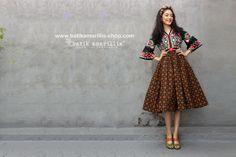 Batik Amarillis made in Indonesia www.batikamarillis-shop.com New Batik Amarillis's Amarantha dress which features Hungarian's Matyo inspired Embroidery with classy and classic batik sogan sragen 'randu kintir agengan'