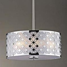 $100   @Overstock.com - Chrome/ White Shade 3-light Pendant Chandelier - Add a sophisticated touch to your home with this pendant chandelier. This light fixture showcases a chrome exterior shade and a white interior shade.  http://www.overstock.com/Home-Garden/Chrome-White-Shade-3-light-Pendant-Chandelier/5652451/product.html?CID=214117 $100.79
