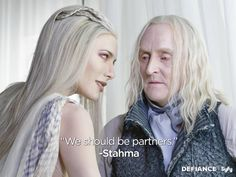Defiance was a great show, it didn't deserve to be canceled, I loved watching these two scheme, #StahmaHowILoveThee