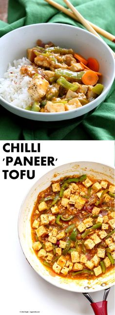 """Chilli Tofu - Indian Chilli """"Paneer"""" Recipe. Chilli Paneer is an Indo-chinese fusion stir fry served with other fusion noodles or fried rice. Crisp Tofu replaces the Paneer cheese in this delicious and quick version. Vegan Gluten-free Nut-free Recipe 