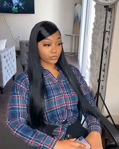 Human Hair Lace Front Wigs Pre Plucked With Baby Hair Human Hair Straight Wigs All Hairstyles, Baddie Hairstyles, My Hairstyle, Black Girls Hairstyles, Straight Hairstyles, Long Weave Hairstyles, Hairstyle Ideas, Hair Ideas, Curly Hair Styles