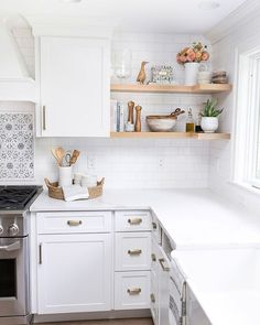 Home Decor Inspiration Open wood shelving that wraps around the corner - one of my favorite details of this kitchen remodel! Decor Inspiration Open wood shelving that wraps around the corner - one of my favorite details of this kitchen remodel! New Kitchen Cabinets, Kitchen Countertops, Laminate Countertops, Kitchen Sinks, White Cabinets, Concrete Countertops, Kitchen Wood Shelves, Open Shelf Kitchen, Cupboards
