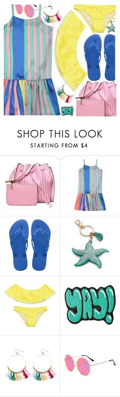 """""""Colorful stripes"""" by paculi ❤ liked on Polyvore featuring Havaianas, New Directions, Stoney Clover Lane, Summer, stripes, beach and colorful"""
