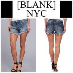 "Blank NYC Cutoff Denim Shorts Five pocket style, zip fly, 98% cotton, 2% spandex.  Approx 3"" inseam, 15-1/2"" waist. Blank Denim Jeans"