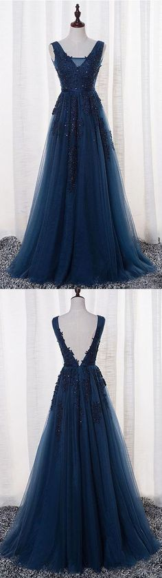 New Arrival A-Line V-Neck Sleeveless Navy Blue Tulle Long Prom Dress