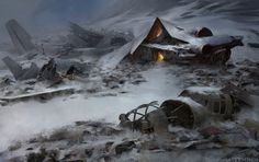 Landscape. Ice. Winter. Downed Plane. Scrapyard by Alexander Forssberg | Illustration | 2D | CGSociety