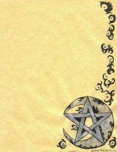 Book of Shadows:  A blank page with a Crescent Moon and a pentagram for a Book of Shadows.