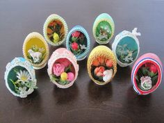 Vintage Antique Hand Made Decorative Eggs, 9 Egg Collection  Each egg was handmade from a real egg.  Each egg has a hanger on the top and a stand on the bottom