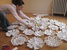 how to make doily bowls liquid porcelain then bake. What a neat idea.