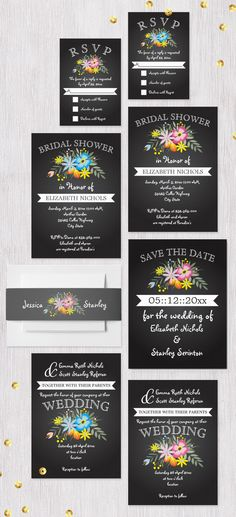 Chalkboard and folklore flowers modern floral wedding invitations collection.