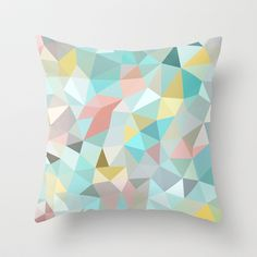 Pastel Tris Throw Pillow (Perfect throw pillow! Ties in the mint and pastel pink she likes, plus a pale gray and other colors for pop.)