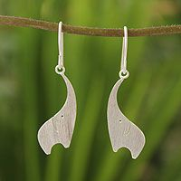 Sterling silver dangle earrings, 'Elephant Greeting' by NOVICA