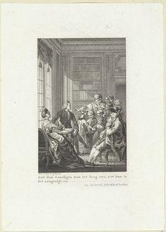 Reinier Vinkeles | Drie volwassenen kijken naar een groep kinderen in de leeskamer, Reinier Vinkeles, 1775 |