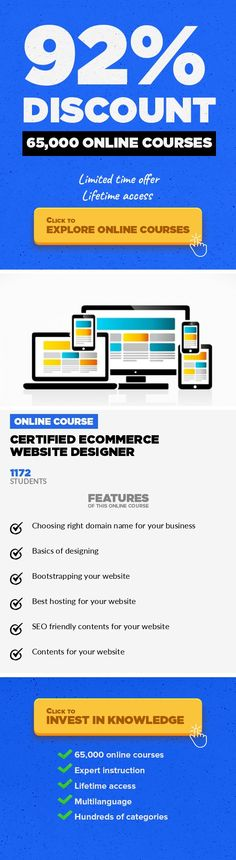 Certified Ecommerce Website Designer Entrepreneurship, Business  100% Practical course on Ecommerce Website Designing Certified Ecommerce Website Designer Course helps you understand the basics of website designing and other important aspects like choosing domain name, choosing best hosting, working on ready made site templates , building your site with literally zero cost and also writing search ...