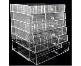 Large size clear acrylic cosmetic display case with six drawers CO-042