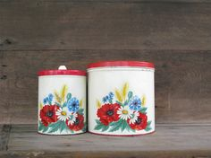Vintage Red Canisters Wilendur Red Poppy  Kitchen Decor by Sfuso