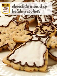 The cut-out Chocolate Mini Chip Holiday Cookies are dotted with mini chocolate chips and topped with frosting and a drizzle of melted chocolate for a special tr Chocolate Coconut Cookies, Mini Chocolate Chips, Melting Chocolate, No Bake Cookies, Holiday Cookies, Sugar Cookies, Mini Chips, Holiday Fun, Christmas Time