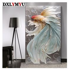 5D DIY Diamond Painting. Pale Blue Betta Fish Pair. Square drill, 3 kit sizes to pick from.