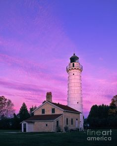 ✮ Cana Island Lighthouse At Sunset on Lake Michigan in Door County, Wisconsin
