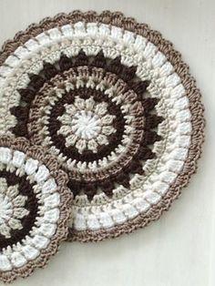 crochet mandala pattern soaring-imagination: Though this crochet mandala by My Way is less brightly coloured than most crochet mandalas that Ive seen, I do love t. Crochet Mandala Pattern, Crochet Circles, Crochet Motifs, Crochet Squares, Crochet Doilies, Crochet Flowers, Granny Squares, Crochet Home, Love Crochet