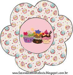 Cupcakes Fofinhos – Kit Completo com molduras para convites, rótulos para guloseimas, lembrancinhas e imagens! |Fazendo a Nossa Festa Party Sweets, Hama Beads, Tableware, Cupcakes, Patterns, Awesome, Sweet Like Candy, Cakes, Diy Home