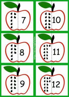 Numbers Preschool, Fall Preschool, Preschool Math, Apple Activities, Preschool Learning Activities, Teaching Kids, Kindergarten Math Worksheets, Fun Worksheets, Math For Kids