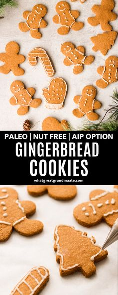 These nut free gingerbread cookies are fun easy and so tasty and you'll never know that they are paleo and AIP! Made with tapioca starch and coconut flour and sweetened with maple syrup. Nut Free Cookies, Paleo Cookies, Almond Cookies, Chocolate Cookies, Paleo Recipes Easy, Real Food Recipes, Free Recipes, Cookie Recipes, Primal Recipes