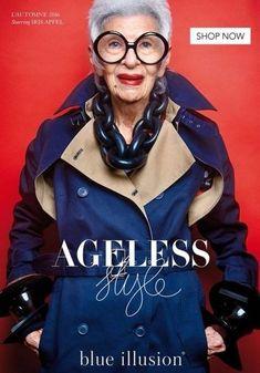 94-летняя Айрис Апфель в рекламной кампании Blue Illusion