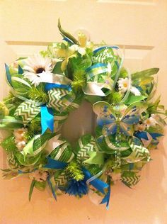 Summer Deco Mesh in Green, White, and Turquoise with Chevron Ribbon