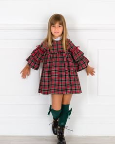 Girls Red Tartan Dress with Ruffle Sleeves Outfit African Dresses For Kids, Kids Outfits Girls, Little Girl Dresses, Girl Outfits, Baby Girl Dress Patterns, Baby Dress Design, Girls Fashion Clothes, Little Girl Fashion, Girls Tartan Dress
