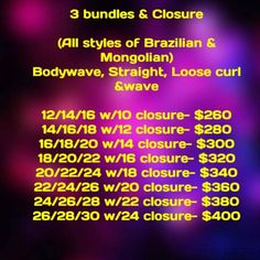 pRICE LIST FOR SOME OF MY BUNDLES AND SETS AVAILABLE  @HTTPS://THEHAIRMISSTRESS911.BIGCARTEL.COM
