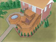 See the Freshfield Park Unique Deck from House Plans and More and learn all of the details you need to easily purchase and build Plan Outdoor Projects, Outdoor Ideas, Patio Ideas, Landscaping Ideas, Backyard Ideas, Garden Ideas, Split Level Exterior, Gazebo On Deck, Hot Tub Deck