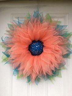 Wreath Deco Mesh Sunflower Wreath w/Beaded by CntryBumpkinCreation