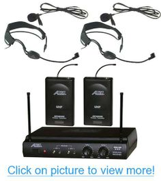 Audio2000s 6032uf UHF Dual Channel Wireless Microphone with Two Headband Headset $ Two Lapel (Lavalier) Mic