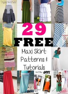 Maxi Rock Trend 2016 - es sind zu viele - näh sie dir einfach selbst - mit Video Tutorial *** 29 Maxi Skirts Free Sewing Patterns and Tutorials - The joyful seasons of Spring and summers are upon us. There are 29 different ideas to choose from. Sewing Patterns Free, Free Sewing, Clothing Patterns, Sewing Hacks, Sewing Tutorials, Sewing Crafts, Dress Tutorials, Sewing Tips, Diy Clothing