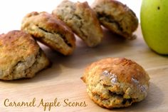 Caramel Apple Scones Recipe Breads with white flour, whole wheat flour, baking powder, salt, ground cinnamon, white sugar, butter, cold milk, vanilla extract, apples, milk, caramel sauce