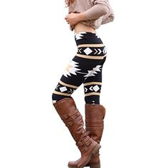 """Brown Aztec Print Leggings - Fitted, tapered leggings that hit between calf and ankle; a great layer piece. - Approximate measurements: 26 3/4"""" (68 cm) inseam, 22 3/4"""" (58 cm) elastic waistband - Mach"""