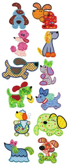 Crazy Dogs Applique available for instant download at www.designsbyjuju.com