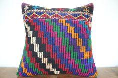 24x24 Kilim Pillow Cover  Decorative Pillow  Large by SebilPillows