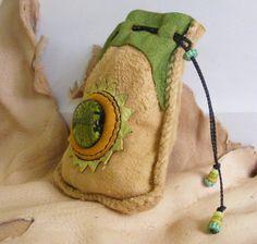 SPRING SUN medicine bag / Spirit Pouch deerskin leather suede drawstring bag