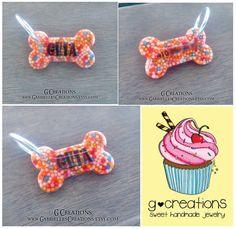 Small Bone Dog Tag Sprinkles Mini Small by GabriellesCreations