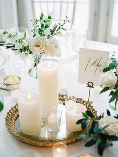 Gold and White Wedding Inspiration | Simple and Elegant | Candle and Floral Centerpieces