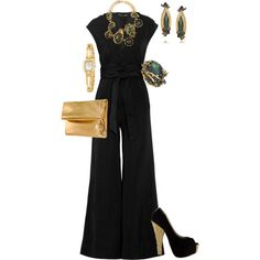 A fashion look from June 2012 featuring Winter Kate jumpsuits, Rochas clutches and Erickson Beamon necklaces. Browse and shop related looks.