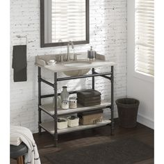 Use Rattviken sink top with pipe fittings! 36-inch Industrial Open Shelf Vanity with Backsplash