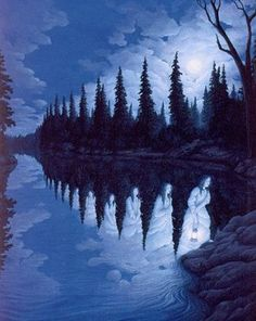 A lake or a girl ? The Canadian painter, Robert Gonsalves' 'Magic Realism.' His works create optical illusions. Rene Magritte, Optical Illusion Paintings, Amazing Optical Illusions, Magic Illusions, Canadian Painters, Canadian Artists, Robert Gonsalves, Illusion Kunst, Lake Art