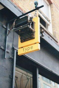 type shop sign, London