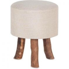 "Showcasing a linen cushion atop an organically shaped pine wood base, this handsome stool fuses contemporary style and natural appeal. Product: StoolConstruction Material: Pine wood and linenColor: Cream and naturalDimensions: H x 12 "" Diameter Accent Furniture, Furniture Decor, Modern Furniture, Dream Furniture, Affordable Furniture, Farmhouse Furniture, Furniture Outlet, Online Furniture, Rustic Furniture"