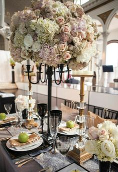 Beautiful table setting for a wedding.