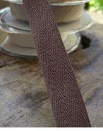 "Natural Cotton Brown Twill Ribbon  3/4"""