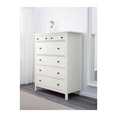 HEMNES 6-drawer chest  - IKEA    Like that there's space underneath; could get custom knobs to match wood scheme